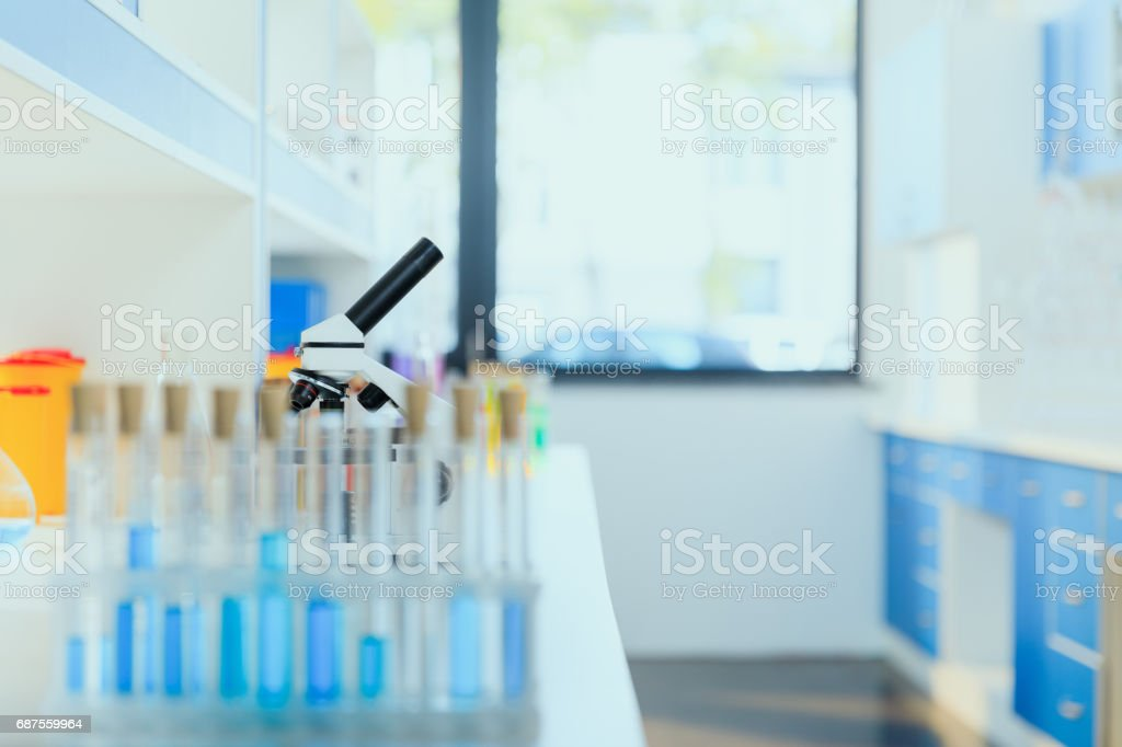 modern scientific medical equipment at testing laboratory in clinic, chemical laboratory stock photo