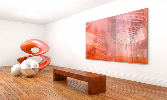 Modern art sculpture and abstract painting, with a contemporary conceptual style, inside an art gallery with white walls and brown wooden floor. The sculpture - which is made of three geometric elements in silver, pearl and red metal - is on the left side, while a bench sits in front of an wall mounted painting on the right side. Art gallery and museum space with bright illumination, perspective view. Digitally generated image.
