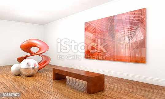 istock Modern sculpture and abstract painting in contemporary art museum 508897972