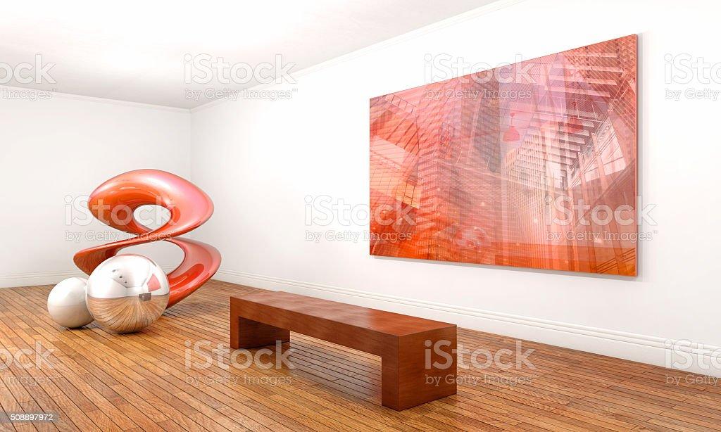 Astratto moderno, sculture e dipinti del Museo di arte contemporanea - foto stock