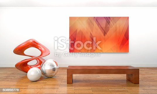 istock Modern sculpture and painting in contemporary art museum 508893778