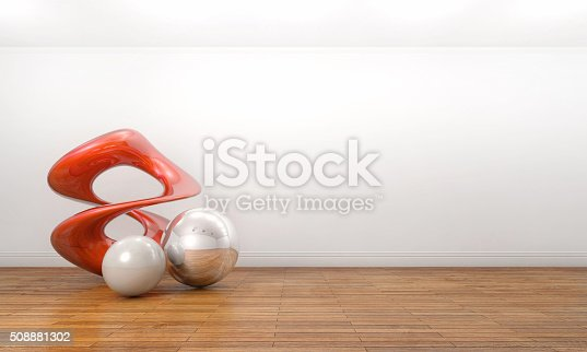 istock Modern sculpture in a empty white art gallery 508881302