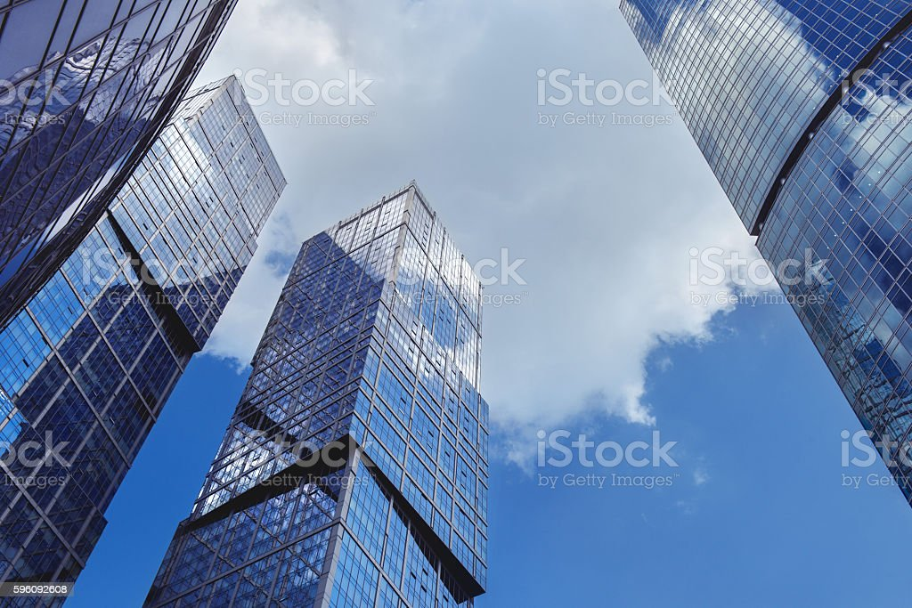 Modern scyscrapers on blue sky backdrop royalty-free stock photo