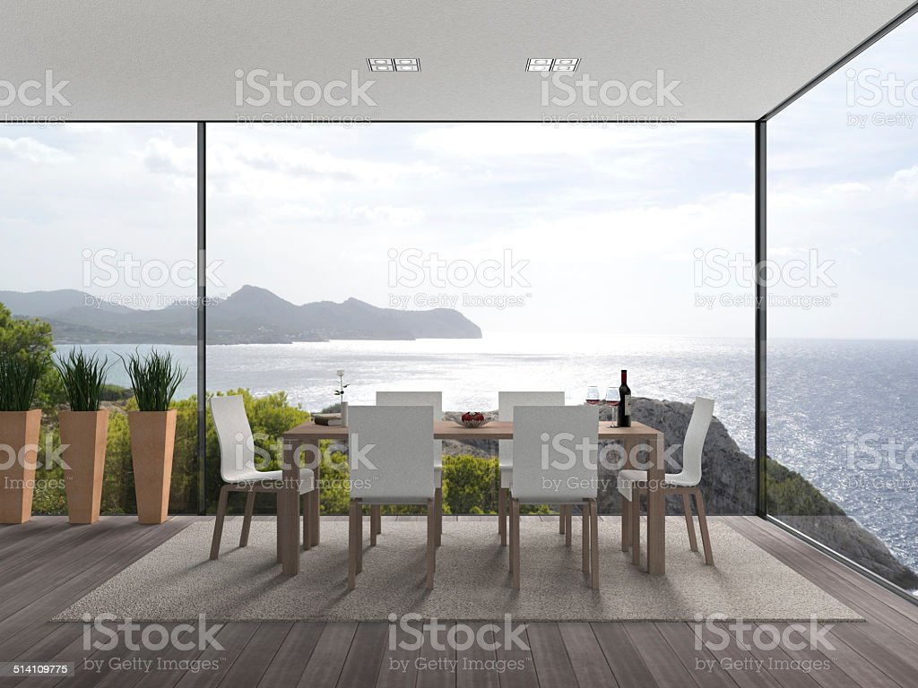 modern seaside interior stock photo