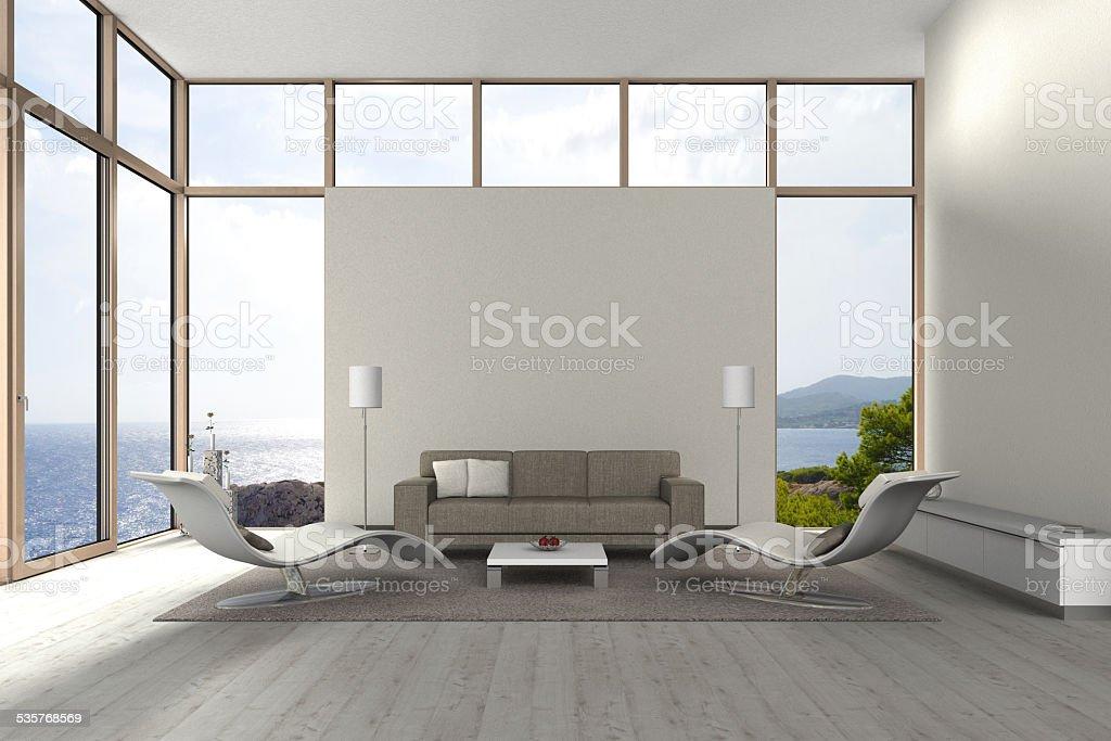 modern seaside living room stock photo
