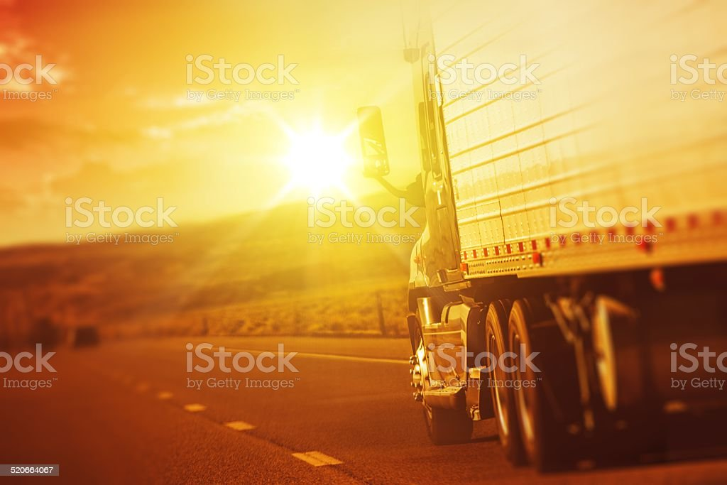 Modern Semi Truck in Motion stock photo