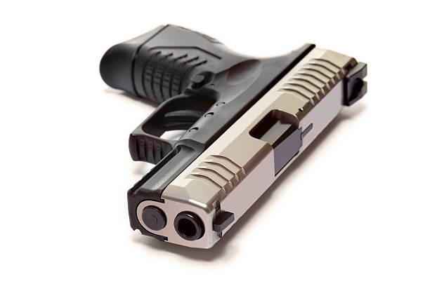 Modern Semiautomatic Handgun Isolated On White stock photo