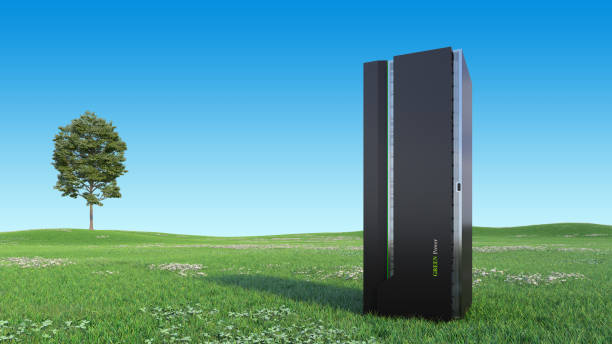 Modern Server Rack on a Beautiful green field stock photo