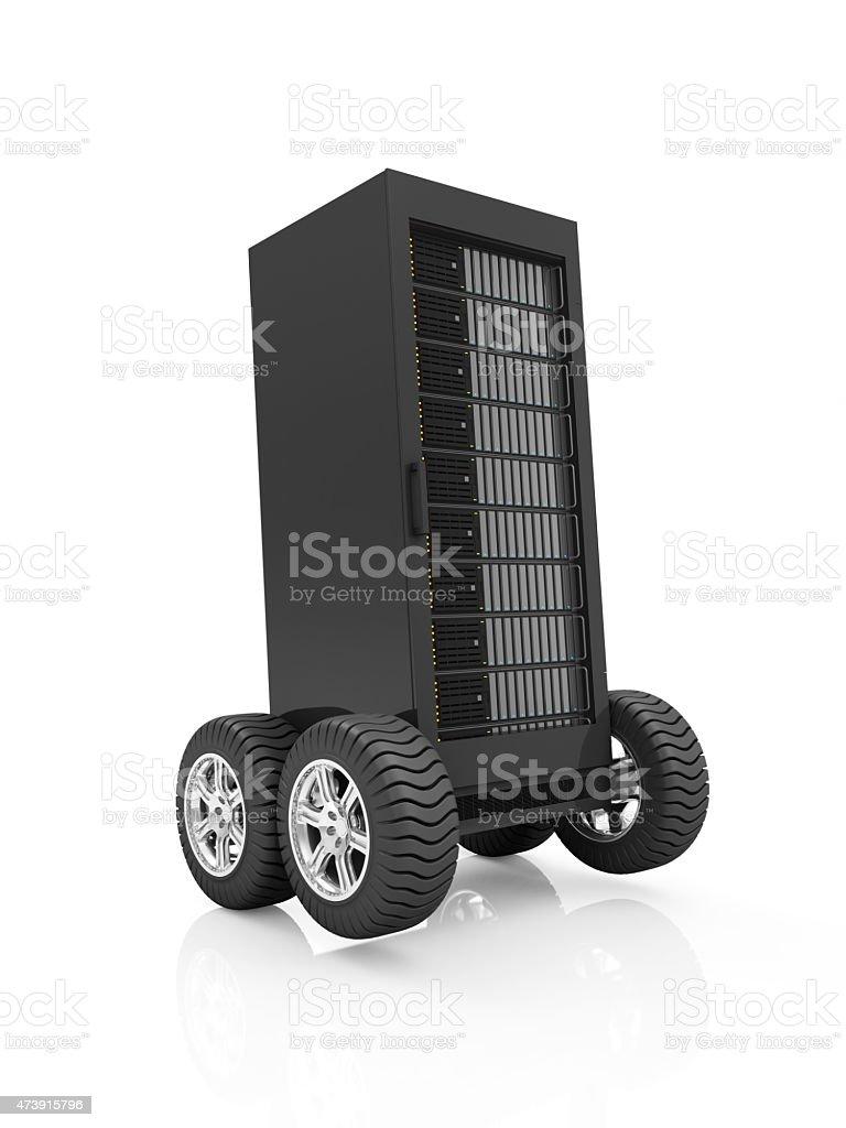 Modern Server Rack on Wheels isolated on white background stock photo