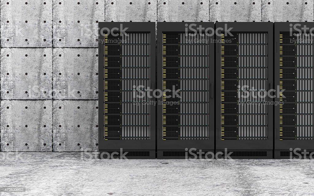 Modern Server Racks in a Concrete Room Interior stock photo