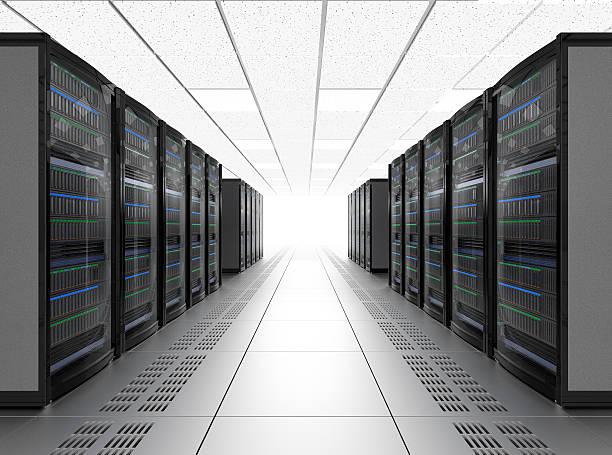 modern server room interior in data center - mainframe stock pictures, royalty-free photos & images