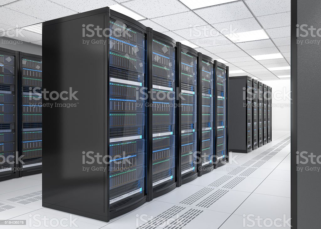Modern server room interior in data center stock photo