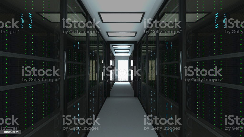 Modern server room interior in datacenter, web network and internet telecommunication technology, big data storage and cloud service concept, 3d render stock photo