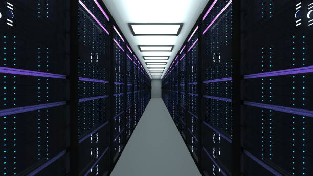 modern server room interior in datacenter, web network and internet telecommunication technology, big data storage and cloud service concept, 3d render - mainframe stock pictures, royalty-free photos & images