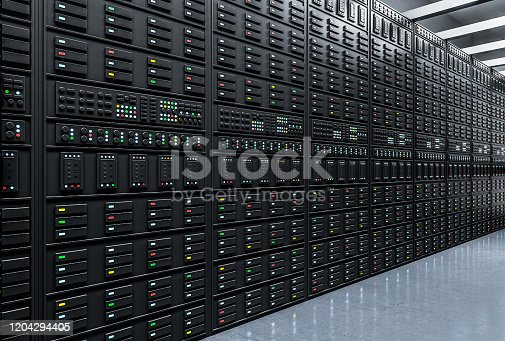 Modern server room. Technology and communication concept. 3D Rendering