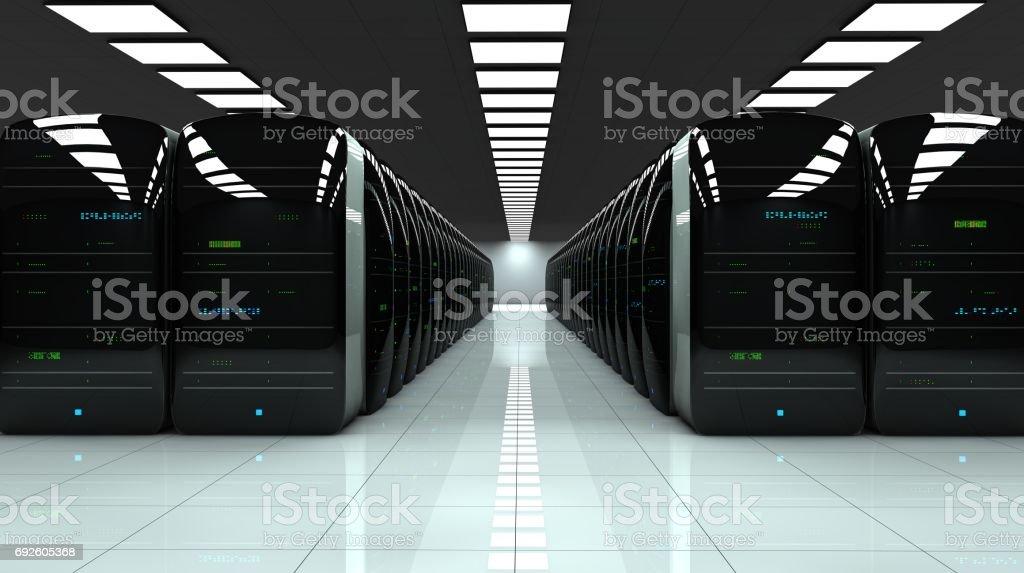 Modern server room. Realistic LED lights are flashing. stock photo