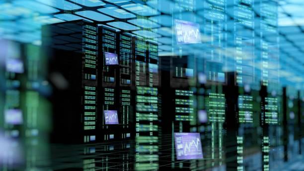 moderne serverruimte met server racks in datacenter - datacenter stockfoto's en -beelden