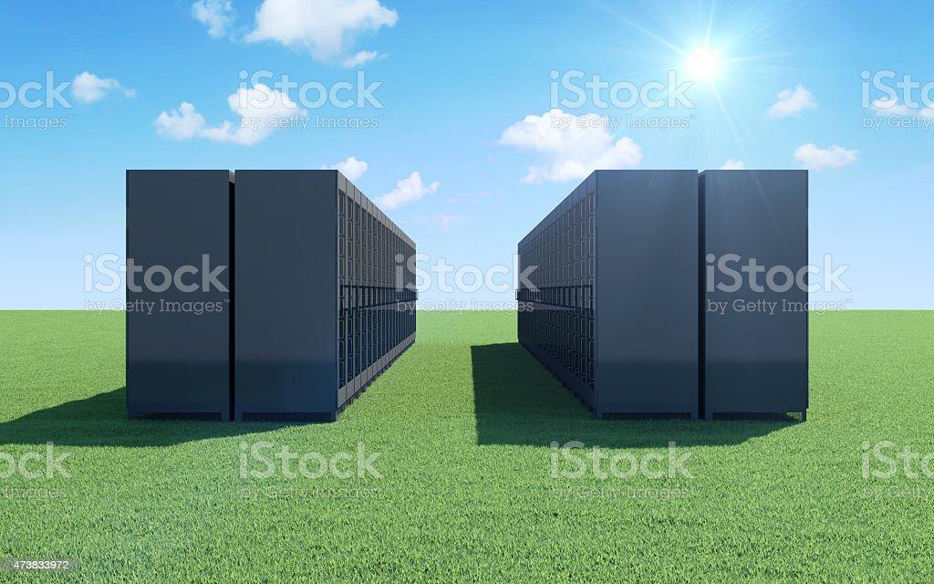 Modern Servers Rack on a Beautiful Landscape stock photo