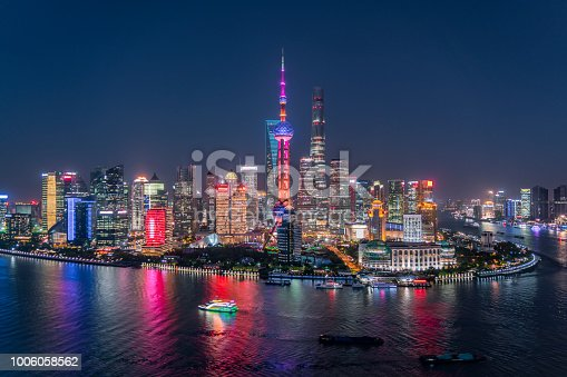 Lujiazui financial district at night.