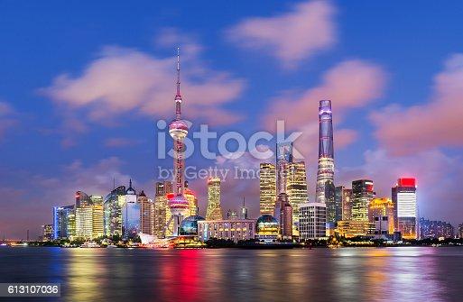 Twilight shot with the Shanghai skyline along the Huangpu river, China