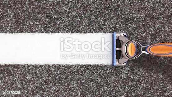 istock modern shaving concept Mens razor 3d render on white background 910870026