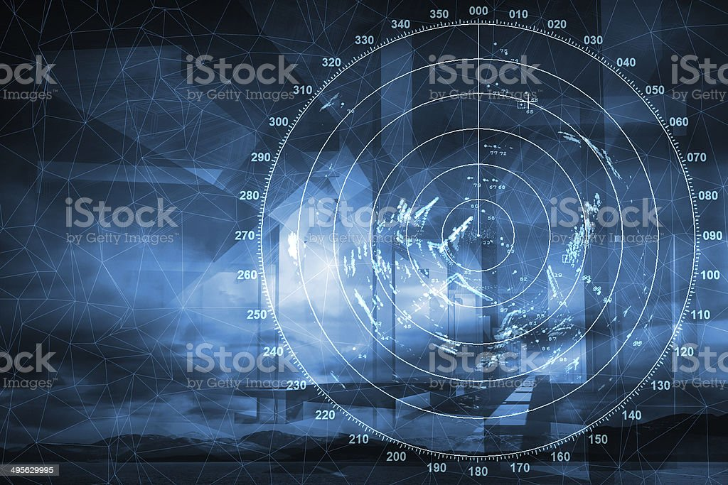 Modern ship radar digital screen above blue abstract background stock photo