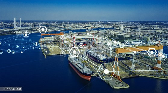 istock Modern shipyard aerial view and communication network concept. Logistics. INDUSTRY 4.0. Factory automation. 1277731095