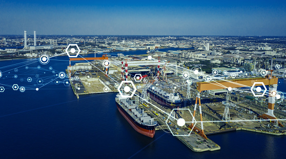 Modern shipyard aerial view and communication network concept. Logistics. INDUSTRY 4.0. Factory automation.