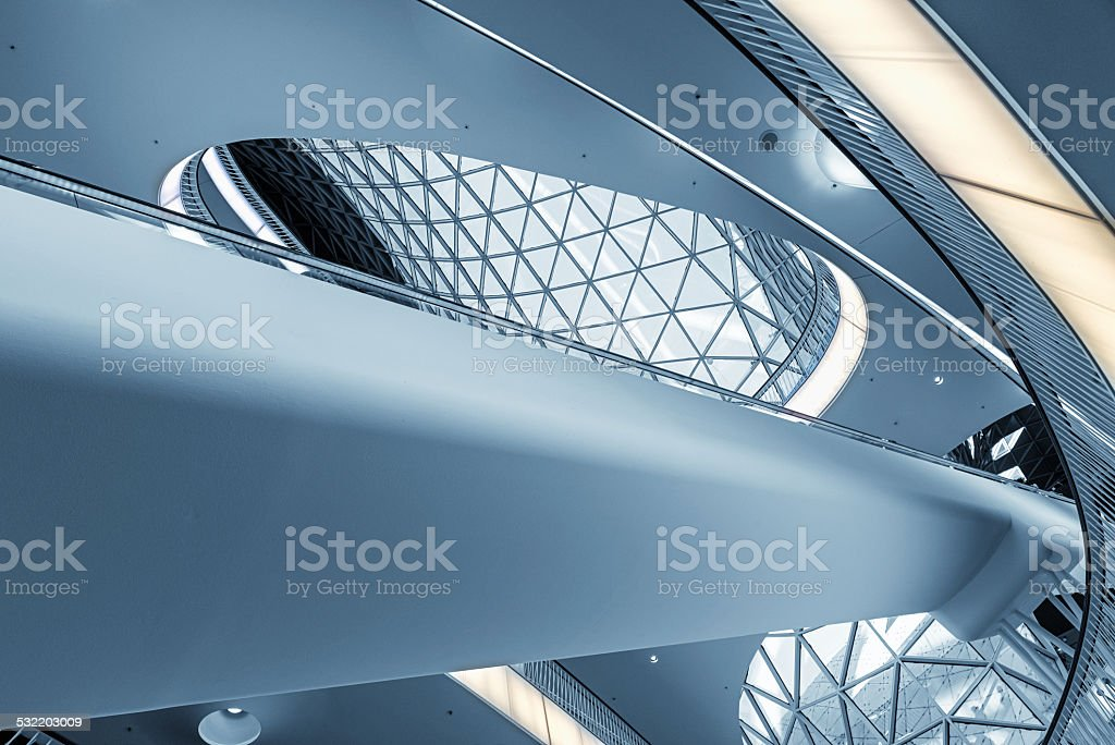 Modern shopping mall in Frankfurt stock photo