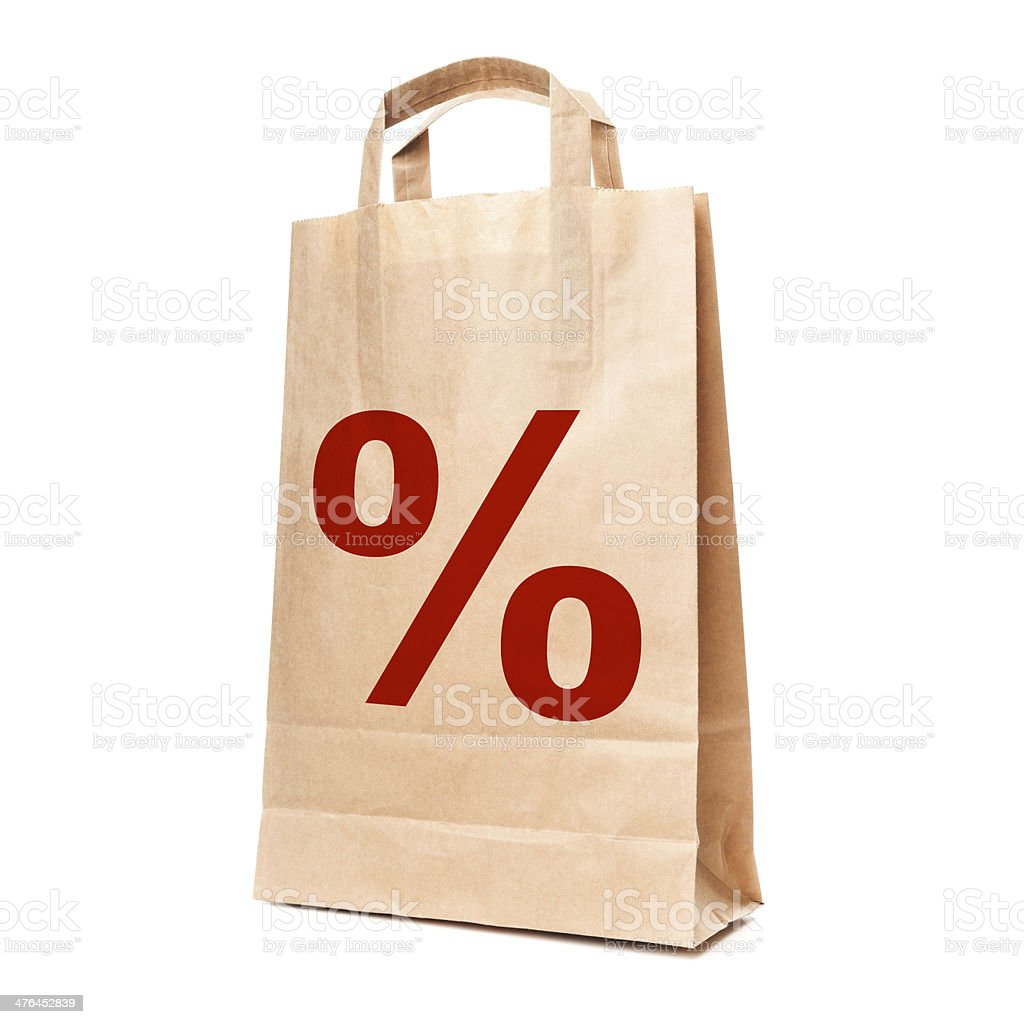 Modern shopping paper bag isolated on white royalty-free stock photo