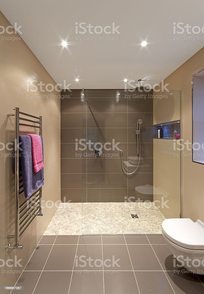 modern shower area in a luxury new home stock photo