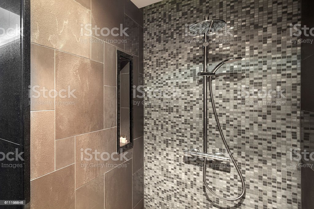 Modern Shower Head In Bathroom Stock Photo & More Pictures of ... on
