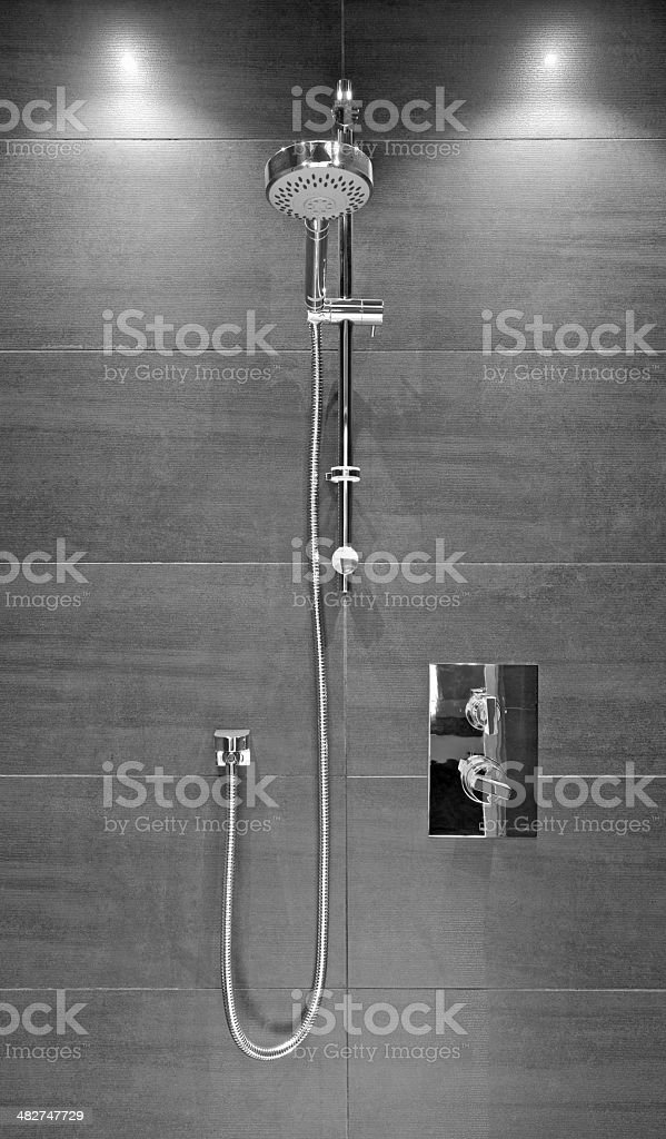 modern shower unit in black and white royalty-free stock photo