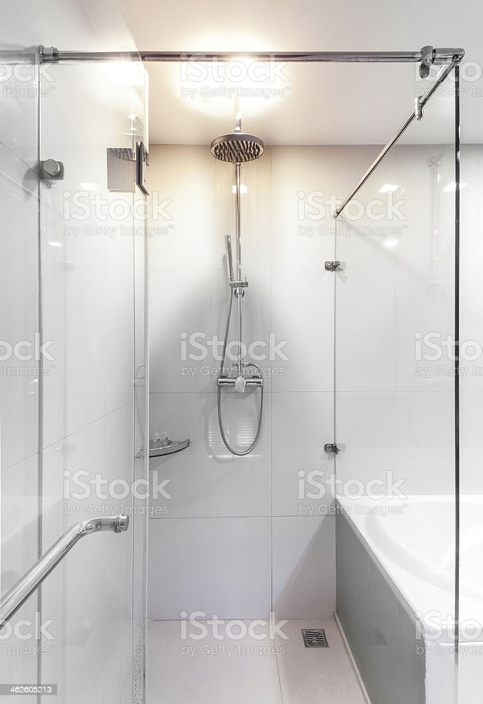 Modern shower with water stream. stock photo