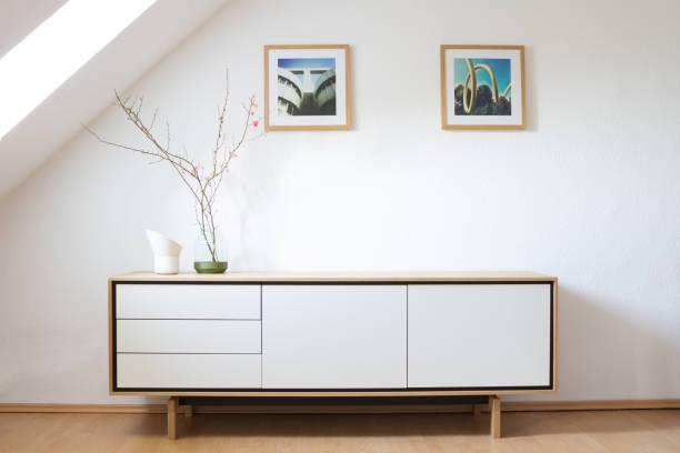 modern sideboard in bright living room. modern living, interior design. scandinavian design. - sideboard imagens e fotografias de stock