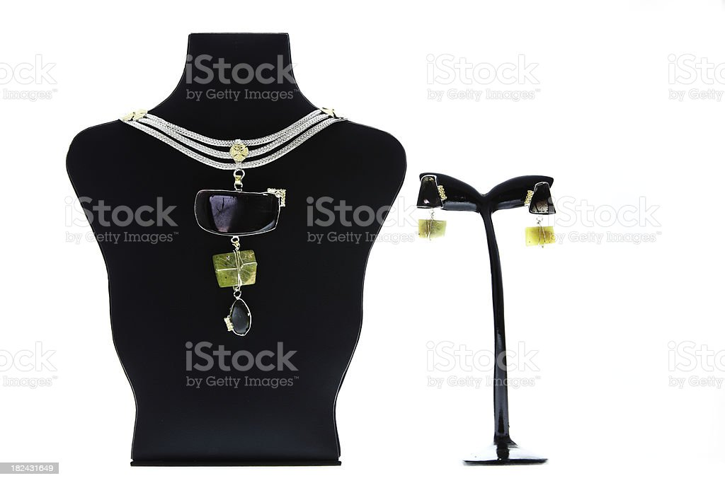 Modern Silver and Semi precious Stone Jewelry royalty-free stock photo