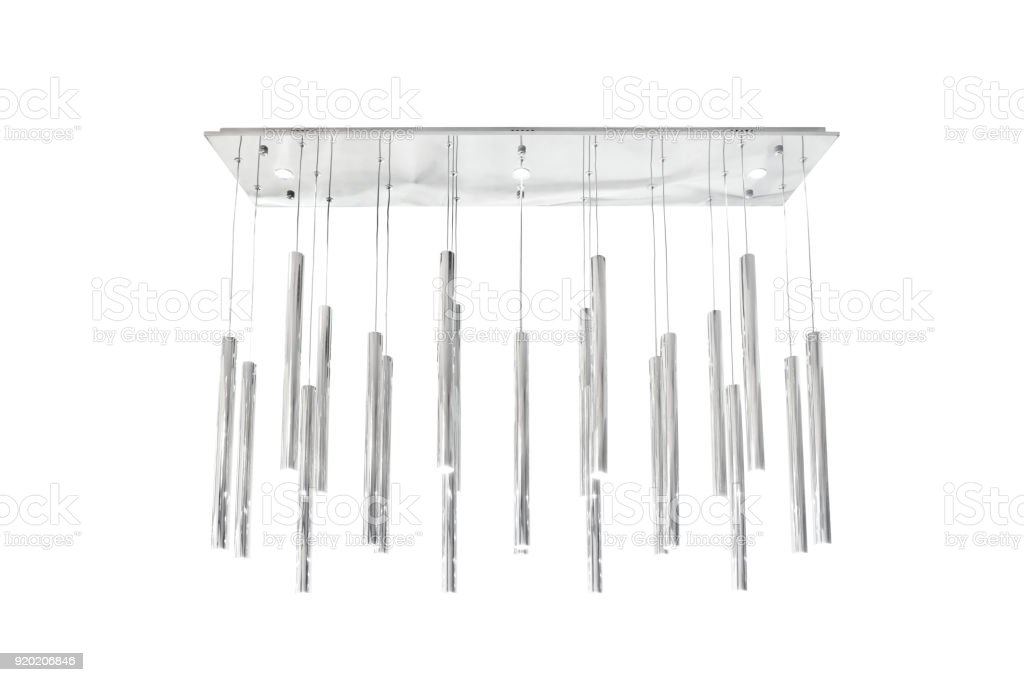 Modern silver chandelier stock photo