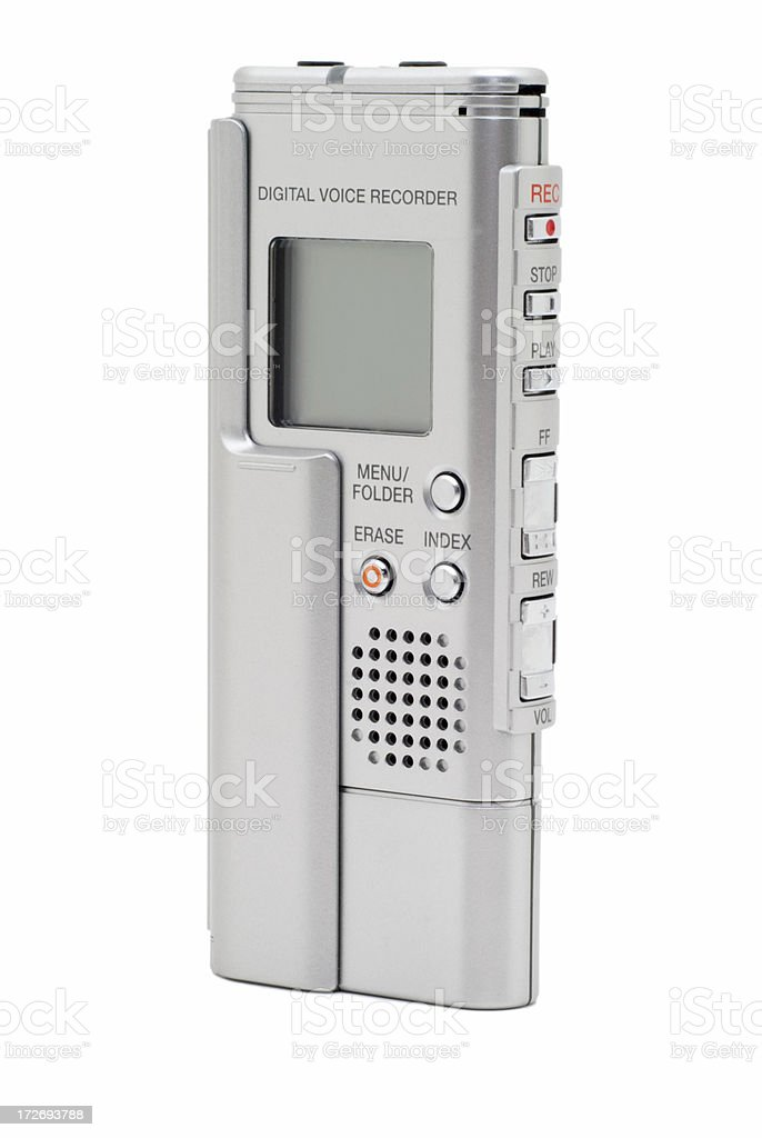 Modern Silver Digital Voice Recorder Isolated on White stock photo