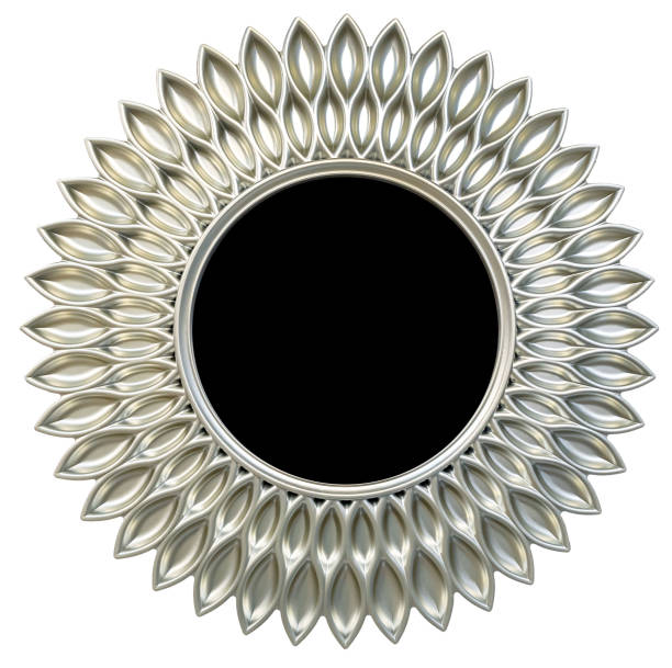 Modern silver round mirror frame sun or flower shape isolated white background stock photo