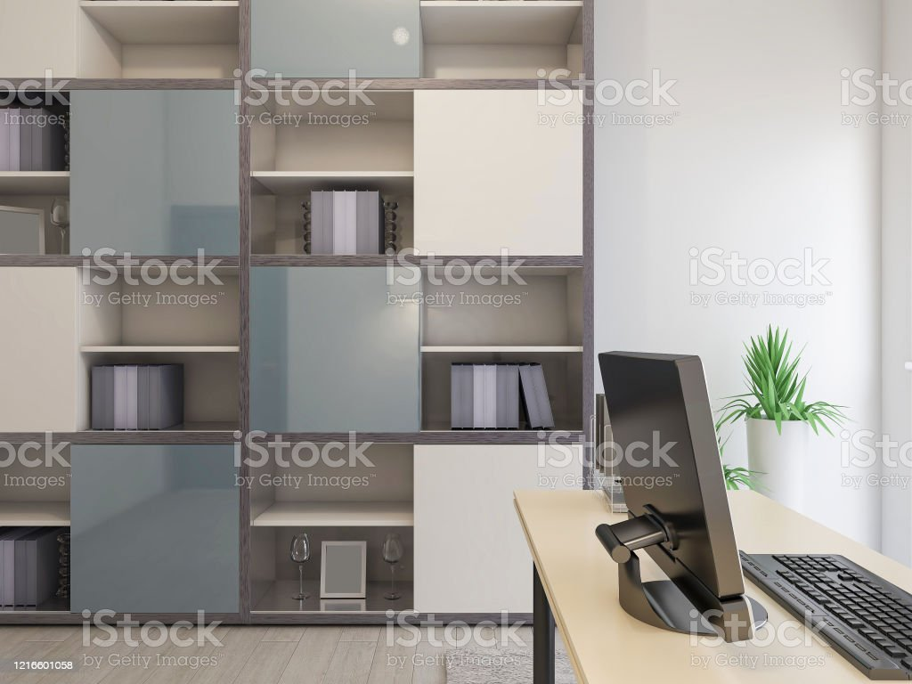 Modern Simple Design Study With Desks And Bookcases Next To It Suitable For Business Office And Study Stock Photo Download Image Now Istock