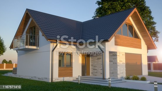 697393252 istock photo Modern single - family house. Front, exterior view 1167571410