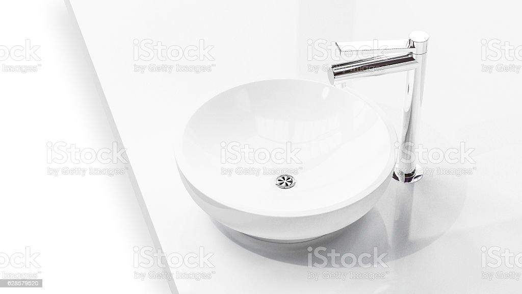 Modern sink in  soft light on white background 3d illustr – Foto