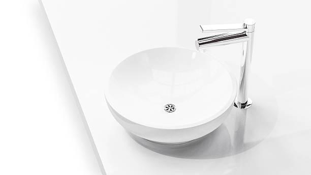 modern sink in  soft light on white background 3d illustr - badarmaturen stock-fotos und bilder