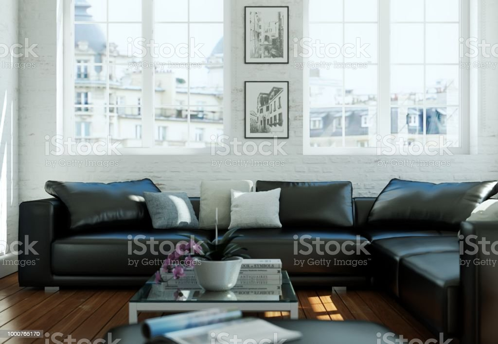Commercial Office Paint Color Ideas, Modern Skandinavian Interior Design Living Room With Black Leather Couch Stock Photo Download Image Now Istock