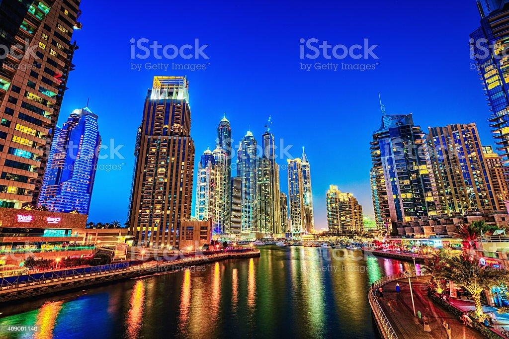 Modern skycrapers in Dubai marina stock photo