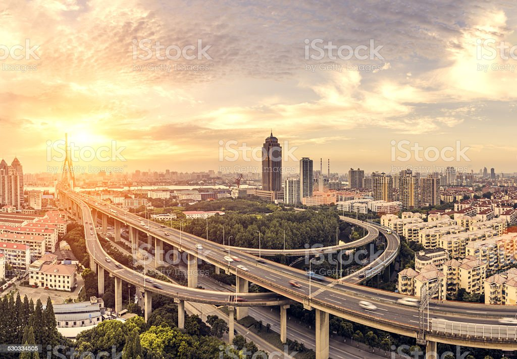 modern skyline, cityscape  and traffic of  shanghai,China. stock photo