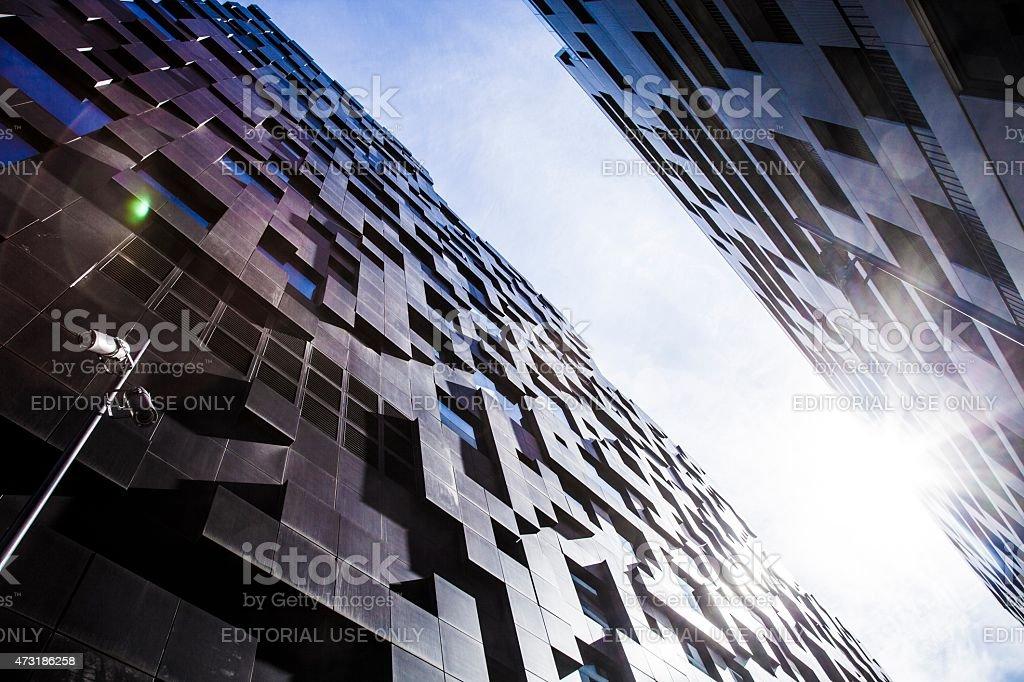 Modern skyscraper architectural details stock photo