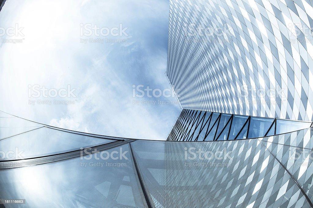 Modern skyscraper seen from bottom stock photo