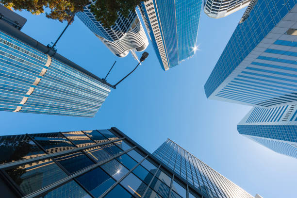 Modern skyscrapers and blue sky stock photo