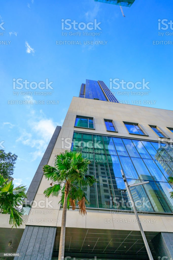 Modern skyscrapers at Bonifacio Global City on Sep 1, 2017 in Taguig, Manila, Philippines stock photo